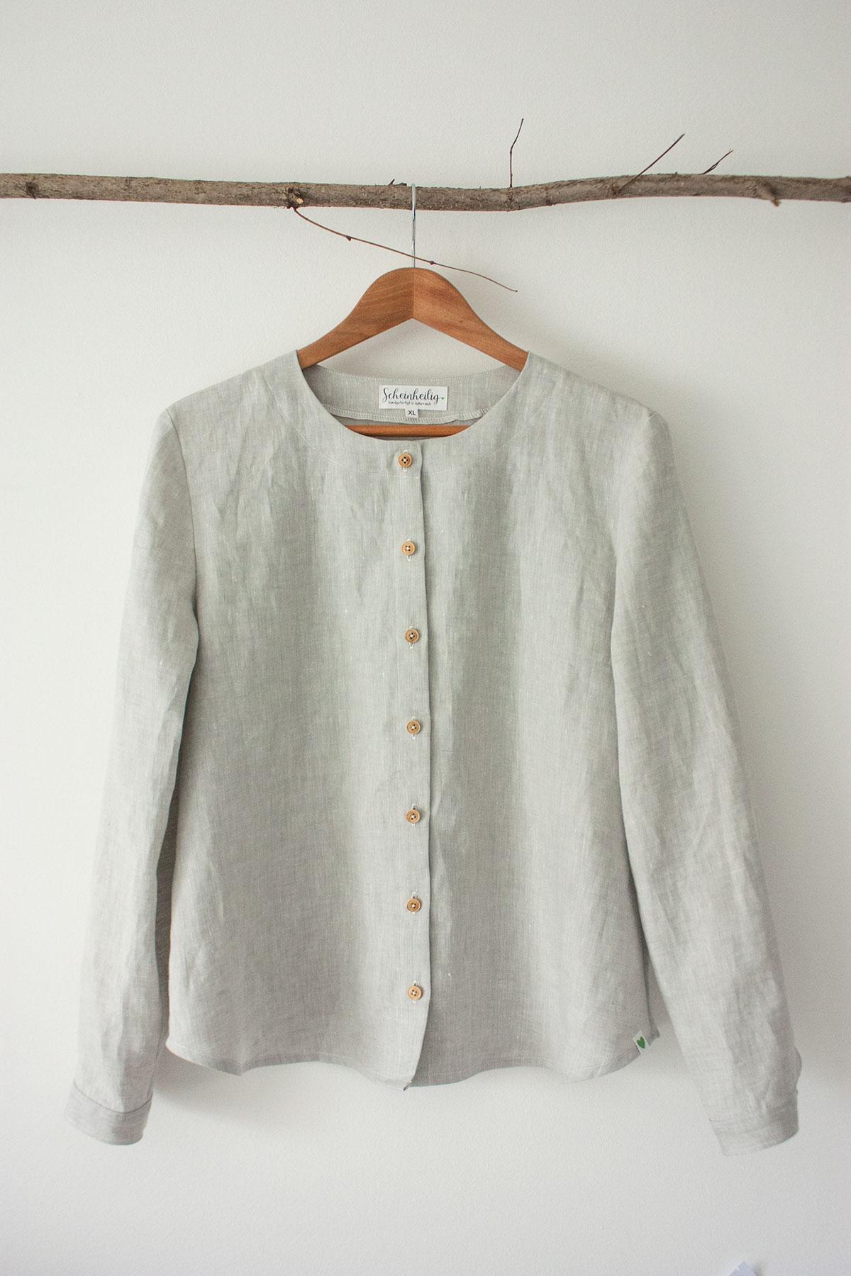 "Damen-Bluse ""Silene"" in grau, aus 100% Bio-Leinen"