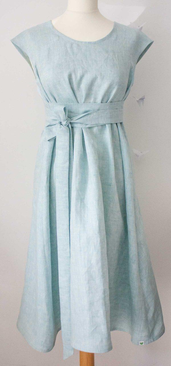 Damen-Kleid Achillea in Türkis aus 100% Bio-Leinen